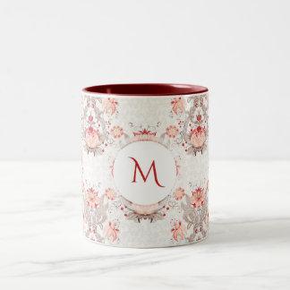 Vintage Blumenmusterdamast Monogramm-Tasse Zweifarbige Tasse