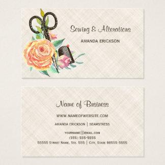 Vintage Blumennäherin-Scheren und Muffe Visitenkarte
