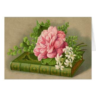 Vintage Blumenpfingstrosen-nobles Buch elegant Karte