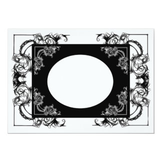 VINTAGE BLUMENschwarzweiss-DAMAST-EINLADUNG 12,7 X 17,8 Cm Einladungskarte