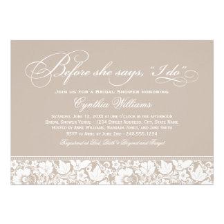 Vintage Blumenspitze der Brautparty-Einladungs- Personalisierte Ankündigungskarte