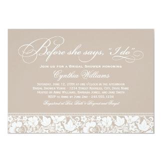 Vintage Blumenspitze der Brautparty-Einladungs-| Personalisierte Ankündigungskarte