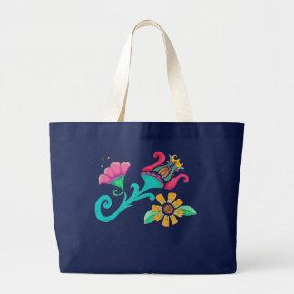 Vintage Blumenstickerei-Tasche Jumbo Stoffbeutel