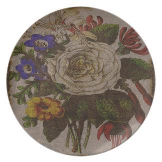 Vintage Blumenstrauß-Melamin-Platte Teller