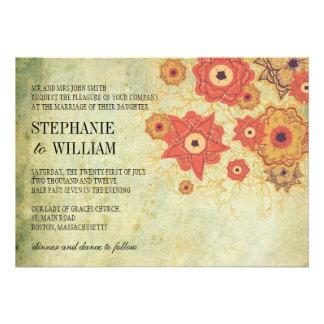 Vintage Blumenstrudel-Hochzeits-Einladung