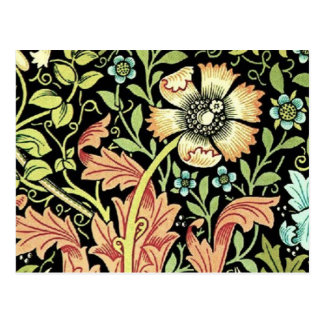 Vintage Blumentapete Postkarte