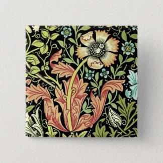 Vintage Blumentapete Quadratischer Button 5,1 Cm