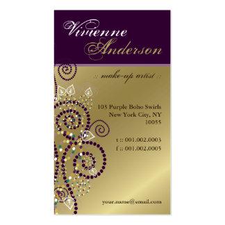 Vintage Boho lila Spirale-goldene Visitenkarte