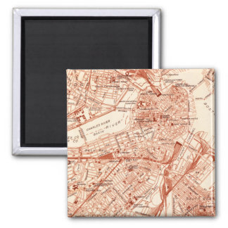 Vintage Boston-Karte Quadratischer Magnet