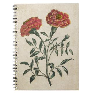 Vintage botanische französische mit spiral notizblock