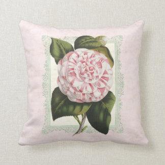 Vintage botanische Kamelien-rosa und weiße Blume Kissen