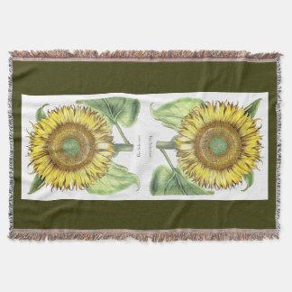 Vintage botanische Sonnenblume-Blume mit Blumen Decke
