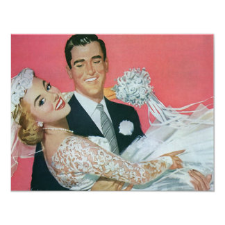 Vintage Braut-Bräutigam-Jungvermählten, die 10,8 X 14 Cm Einladungskarte