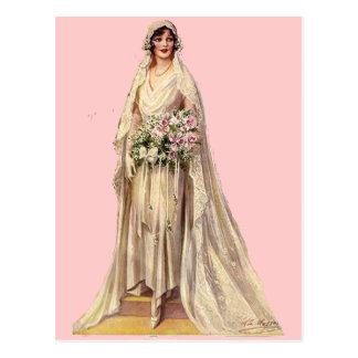 Vintage Braut Postkarte