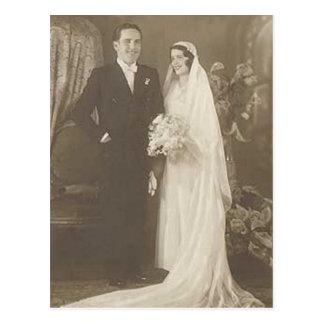 Vintage Braut-u. Bräutigam-romantische Postkarte