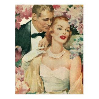 Vintage Braut und Bräutigam-Jungvermählten und Postkarte