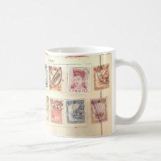 Vintage Briefmarken Kaffeetasse