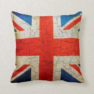 Vintage BRITISCHE Flagge auf einer gebrochenen Kissen