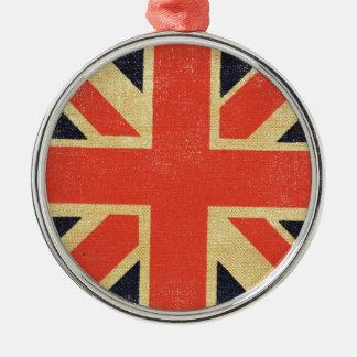Vintage BRITISCHE Flagge Silbernes Ornament