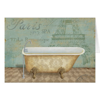 Vintage Brown-Franzose-Badewanne Grußkarte