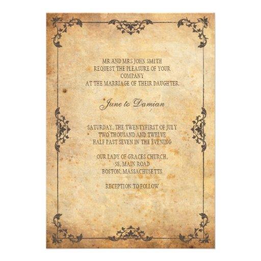 Vintage Brownblumenhochzeits-Einladung