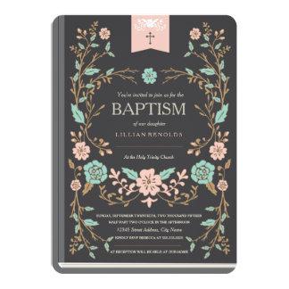Vintage Buch-Taufe 12,7 X 17,8 Cm Einladungskarte