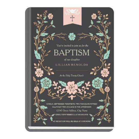 Vintage Buch Taufe Einladung Zazzlede