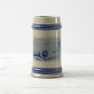 Vintage Büffel-Jagd-Keramik Stein Bierglas