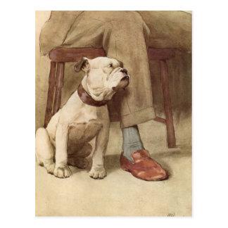 Vintage Bulldoggen-Welpen-Illustration Postkarte