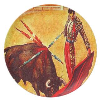 Vintage Bullfight-Plakat-Kunst-Plastikpicknick-Ges Teller