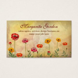 Vintage bunte Blumengeschäftskarten Visitenkarte