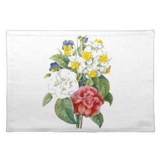 Vintage bunte botanische Blumen durch Redoute. Tischset