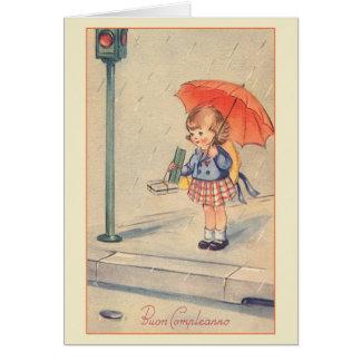 Vintage Buon Compleanno italienische Grußkarte