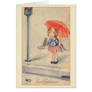 Vintage Buon Compleanno italienische Karte