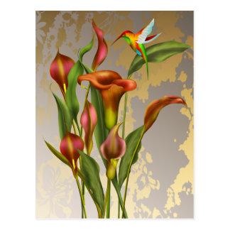 Vintage Calla-Lilien und Kolibri Postkarte