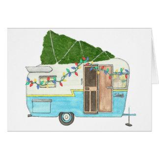 Vintage Campings-Anhänger-Weihnachtskarte Karte