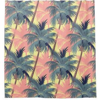 Vintage Cartoon-Palmen Duschvorhang