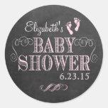 Vintage Chalkboard Look - Baby Shower Round Stickers