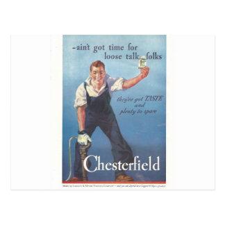 Vintage Chesterfield-Zigaretten-Werbung 1936 Postkarte