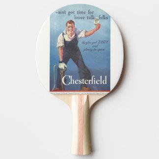 Vintage Chesterfield-Zigaretten-Werbung 1936 Tischtennis Schläger