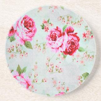 Vintage Chic-Hütten-Rosa-Rose mit Blumen Getränkeuntersetzer