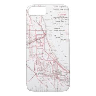 Vintage Chicago-Schienen-Karte - Dampf-Züge iPhone 8/7 Hülle