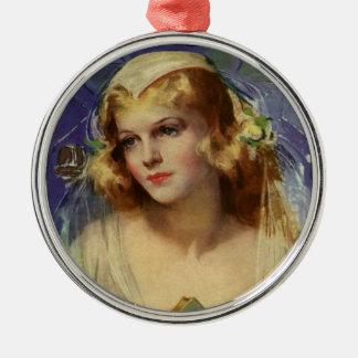 Vintage Christentums-Religion, Braut mit Bibel Silbernes Ornament