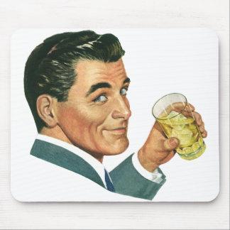 Vintage Cocktail-Getränke, Mann-trinkende Getränke Mousepad