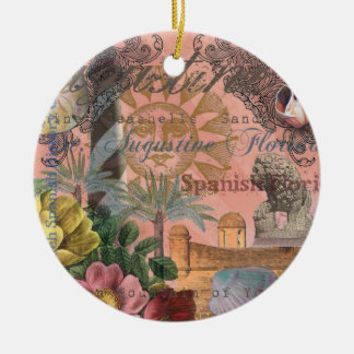 Vintage Collage St Augustine Florida Keramik Ornament