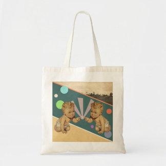 Vintage Collage von zwei Babys Tasche