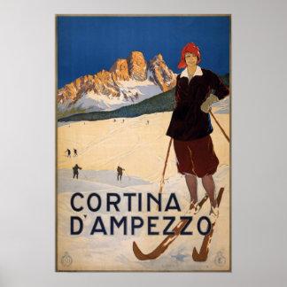 Vintage Cortina d'Ampezzo Italien Ski-Reise Poster