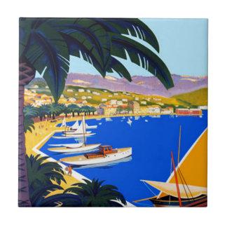 Vintage Cote d'Azur Reise Keramikfliese