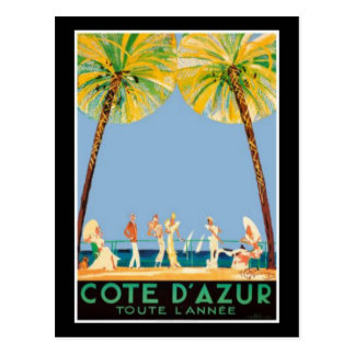 Vintage Cote d'Azur Reise Postkarte