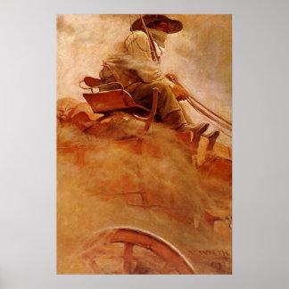 Vintage Cowboys, der Erz-Lastwagen durch NC Wyeth Poster